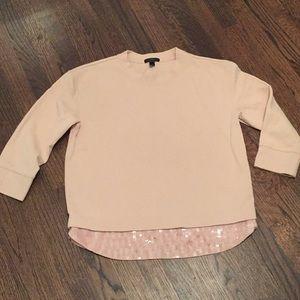 J. Crew sweater cotton sequins S pink